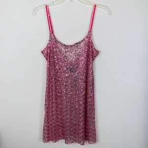 Free People Intimately Pink Sequin Slip Dress Md
